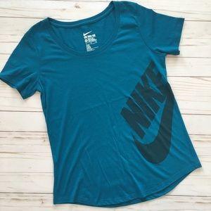 Nike Swoosh Dark Teal Athletic Cut Tee T-Shirt M